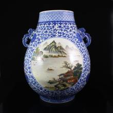 Superb Hand-painted Chinese Gilt- Gold Blue And White + Famille Rose Porcelain Pot w Qianlong Mark