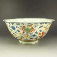 Superb Hand-painted Chinese Dou Cai Porcelain Bowl w Chenghua Mark