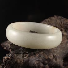 Inside Diameter 59 mm Chinese Natural White Hetian Jade Bracelet