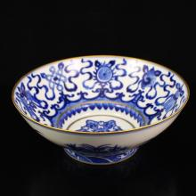 Superb Hand-painted Chinese Gilt Edges Blue And White Porcelain Big Bowl w Yongzheng Mark