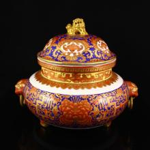 Chinese Qing Dy Purple Ground Gilt-Gold Iron Red Glaze Porcelain Incense Burner w Dragon & Qianlong Mark