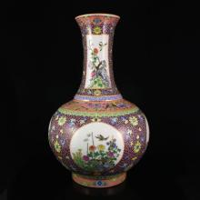Hand-painted Chinese Gilt Edges Famille Rose Porcelain Big Vase w Qianlong Mark