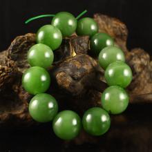 Chinese Natural Green Hetian Jade Beads Bracelet