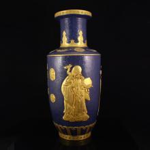Superb Chinese Gilt Gold Pahua Jilan Glaze Low Relief Fukurokuju Porcelain Big Vase w Qian Long Mark