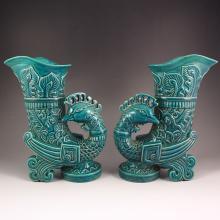 Superb Hand-painted Chinese Peacock Blue Glaze Porcelain Sacrifice Big Goblet w Qianlong Mark