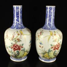 A Pair Hand-painted Chinese Blue And White Famille Rose Porcelain Vase W Qianlong Mark