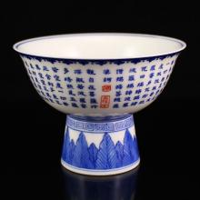 Superb Hand-painted Chinese Blue And White Porcelain Bowl w Qianlong Mark