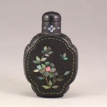 Chinese Natural Black Sandalwood Inlay Shell Snuff Bottle