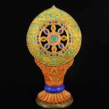 Superb Hand-painted Chinese Gilt-gold Iron Red Glaze Porcelain Buddhism Pagoda w Qian Long Mark