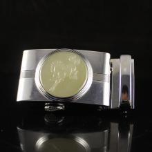 Superb Chinese Hetian Jade White Copper Belt Buckle