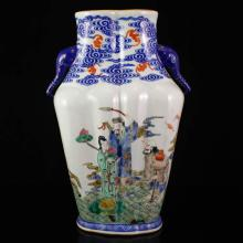 Superb Chinese Gilt Edges Blue And White Wucai Porcelain Big Vase w Marked