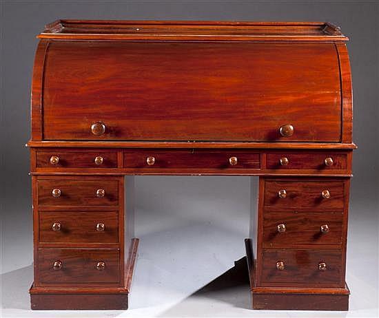 Mahogany Cylinder Front Desk