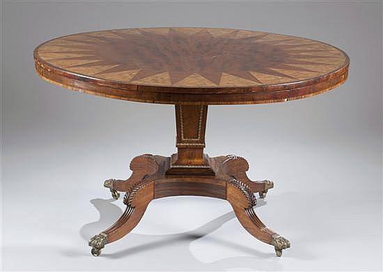 Regency Round Table Consisting of Rosewood, Walnut and Mahogany, Ca. 1850