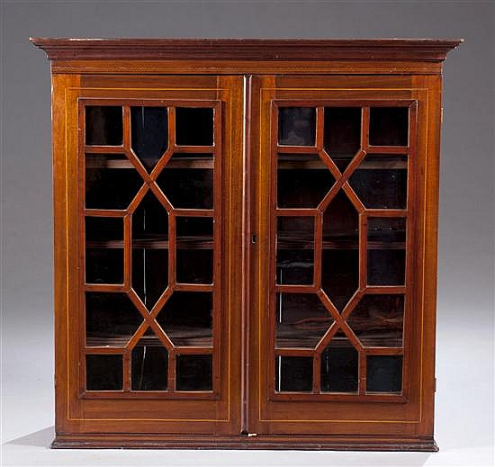 Wall Mounted Mahogany Bookcase Top, Mullion Glass Doors with Checkered Inlay, Three Adjustable Shelves, 40