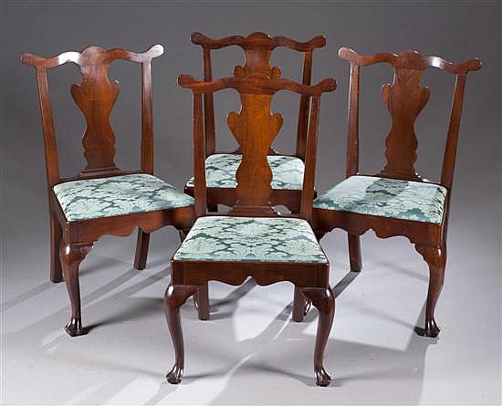 Four Chippendale Style Chairs with Green Upholstery, 38 1/2