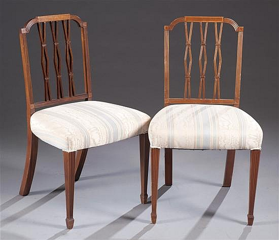 Set of Twelve Sheraton Style Dining Chairs with Blue and Beige Upholstery