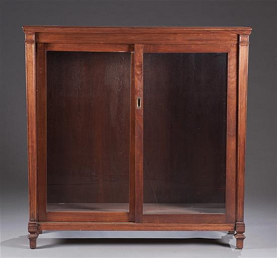Mahogany Glass Front Bookcase, Sliding Glass Doors with Three Interior Shelves, 54