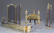 Six Piece Classical Brass Fireplace Set