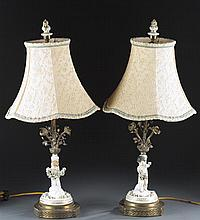 Pair of Meissen Style Cherub Lamps