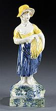Late 19th Century, Staffordshire Pearlware Model of Autumn Holding Wheat