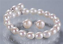 Freshwater Cultured Pearl Sterling Silver Bracelet and Pearl Earrings