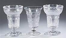 Early American Pressed Glass Celery with Footed Pedestal Base & Two Cut Glass Vases