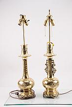 Pair of Asian Style Brass Lamps