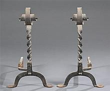 Circa 1900 Wrought Iron Andirons