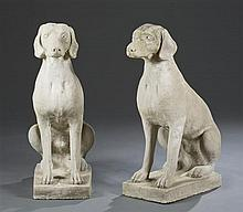 Pair of Cement Dogs