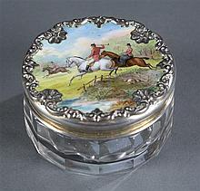 Hunt Scene Dresser Jar, Hand Painted and Sterling Lid, Glass Base