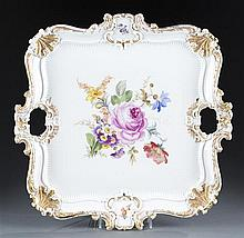 Meissen Handled Square Porcelain Serving Tray