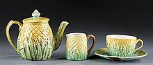 Four (4) Pc. Majolica, Tea Pot, Saucer, Teacup, Creamer