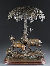 Patinated White Metal Lamp depicting a Family of Deer under a Tree