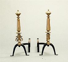 Queen Anne Style Brass/Iron Andirons
