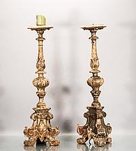 Pair of Gilded Wooden Candle Holders