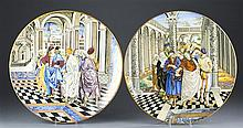 Pair of 20th C. Italian Faience Chargers of Frescos After Luca Signorelli