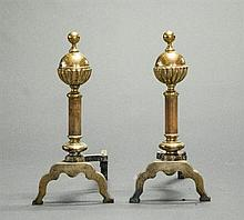 Pair of Mid 19th Century Victorian Style Brass Andirons