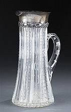 J.E. Caldwell & Co. Cut Glass Pitcher with Sterling Rim