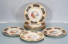 Eight Aynsley English Bone China Dinner Plates Signed J.A. Bailey