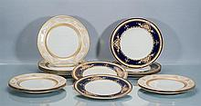 Collection of English and Limoges Porcelain Dinner Plates, Fifteen PIeces
