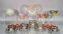 Collection of Hand Painted Glass Finger Bowls and Underplates, 22 pieces