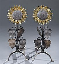 Stokes of England Sunflower Andirons