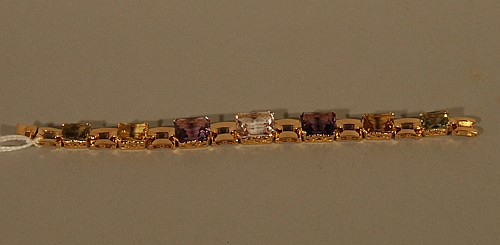 14K Rose and Yellow Gold Gemstone Bracelet
