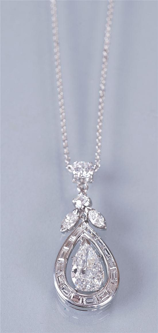 A Platinum and Diamond Drop Pendant Necklace