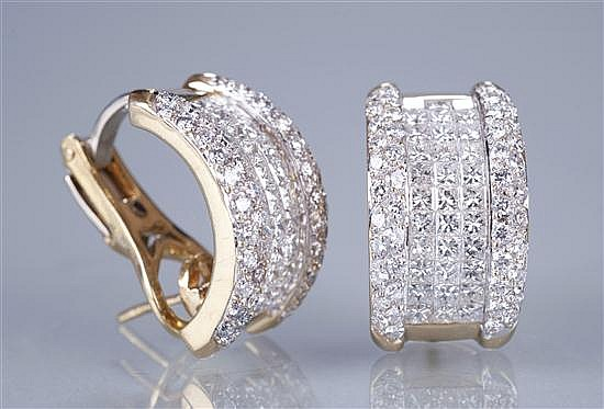 Pair of 18K Yellow Gold Diamond