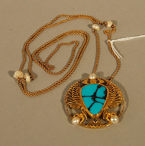 An 18k Yellow Gold, Turquoise and Pearl Pendant