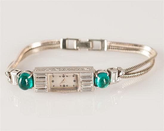 18 K White Gold, 17 Jewel Eternal Lady's Diamond & Emerald Watch, Art Deco, Ca. 1925,