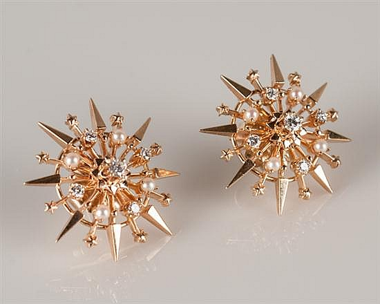 Pair of 14K Rose Gold Starburst Diamond and Pearl Earrings,