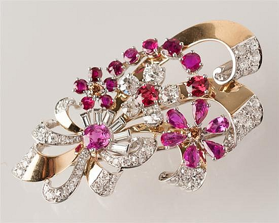14K Two Tone, Ruby and Diamond Brooch, Retro (1935-1945),