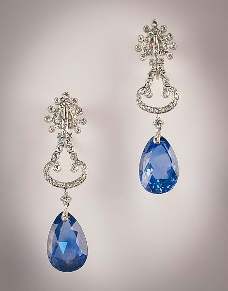 A Pair Platinum & Sapphire Cartier Earrings, Signed Cartier, # 2317760,